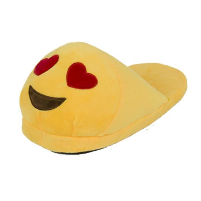 unisexe en peluche hiver emoji chaussons slippers IxyN4ZX