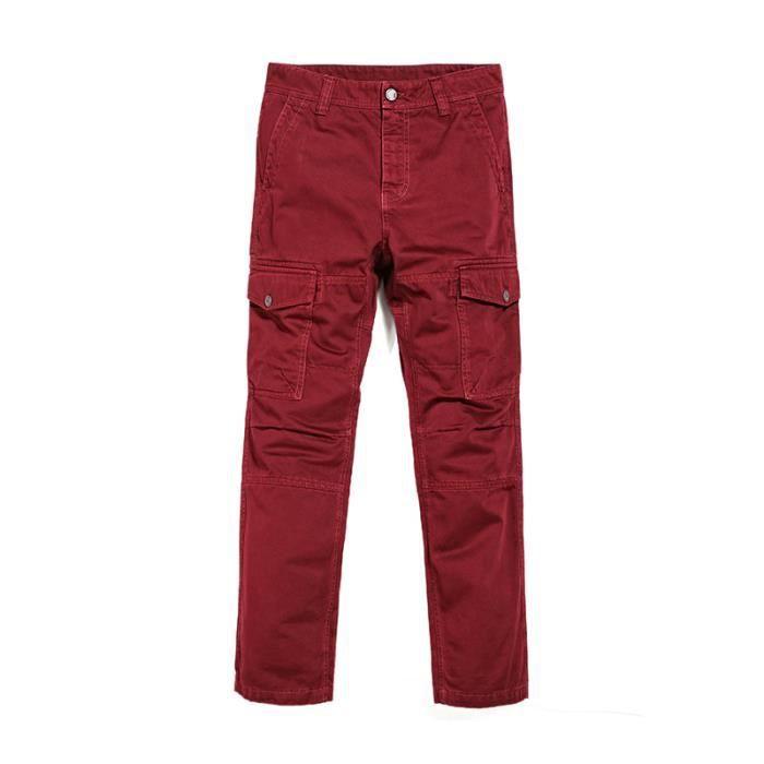 Poches Homme Cargo Pantalon Achat Pour Rouge 2 Latérales qTEFA