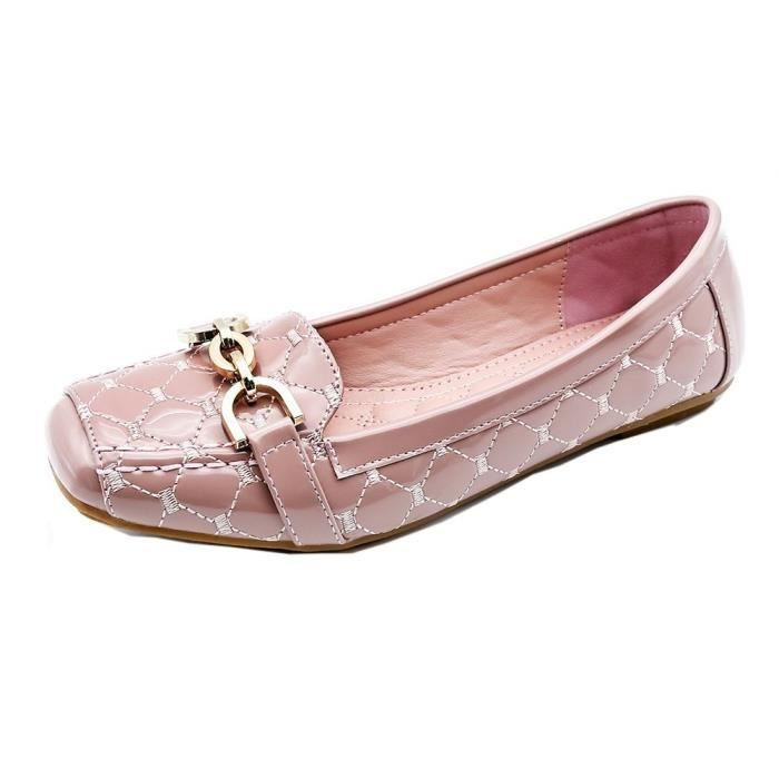 Womens Buckle Slip On Loafer Casual Low Flats Square Toe Shoes UT5UR Taille-40