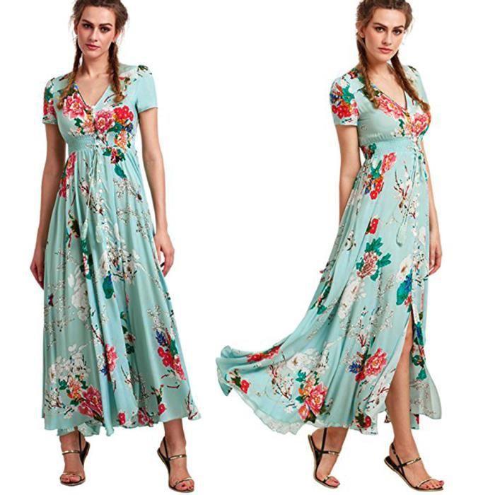 8218d26c9a1 Les femmes d été boutonnent fendue des glands de coton fleuri Flowy partie longue  robe longue  YSZ80316495