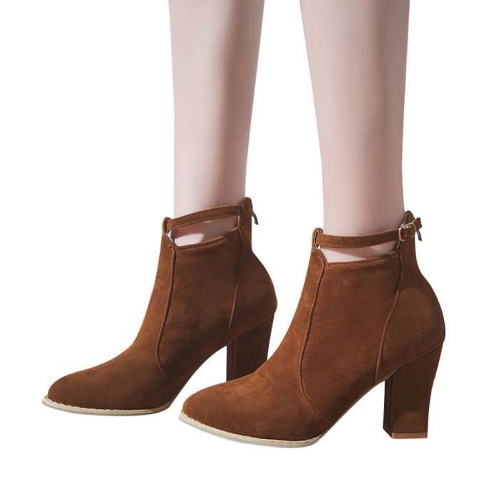 friendprice848 Femmes Chaussures Flcok Boucle Cheville Ponited Hauts Bottes Bracelet De Toe Les Talons Martin qZOdwxq