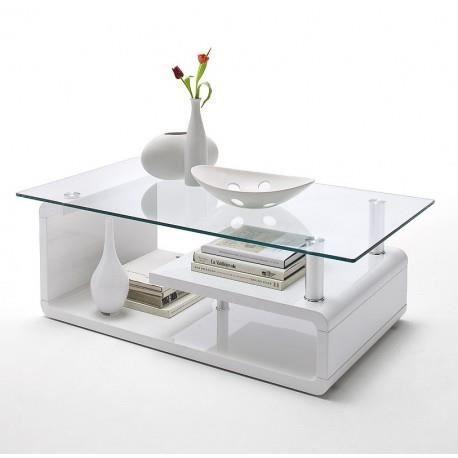 Table Basse Blanche Laque Design Plateau En Verre Achat