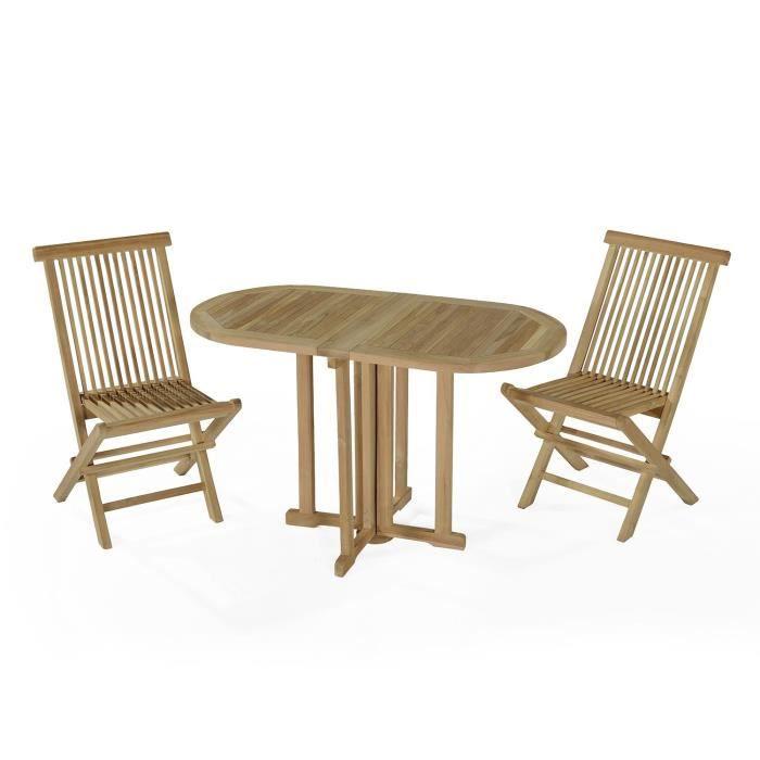 Salon de jardin en teck Ecograde Tahiti, table pliante 120 x 60 cm + ...