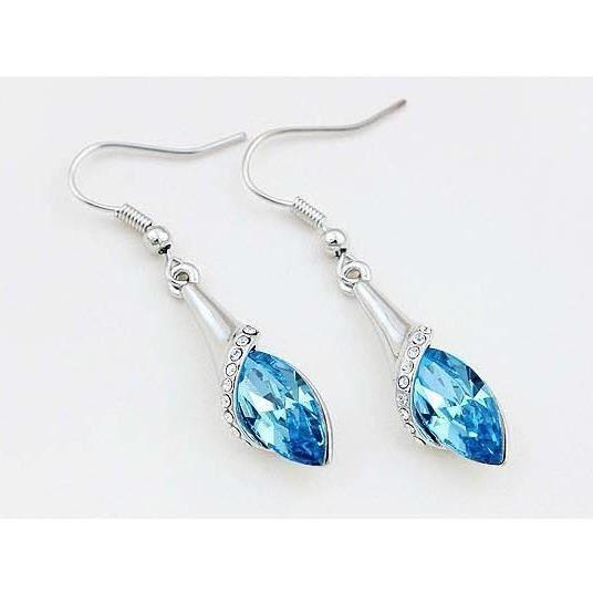 Parure trèfle goutte cristal swarovski elements plaqué or blanc Couleur Bleu turquoise