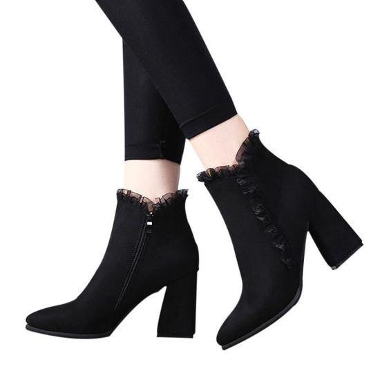 Talkwemot7355 Femmes Zipper Court Bottes Épaisse Haut Talon Solides Ronde Flock Toe Dentelle Shoes 7n6rwR4q7