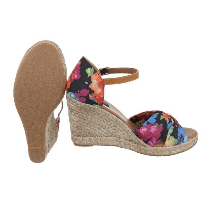 Femme chaussures sandalesWedge High Heels noir Multi 41