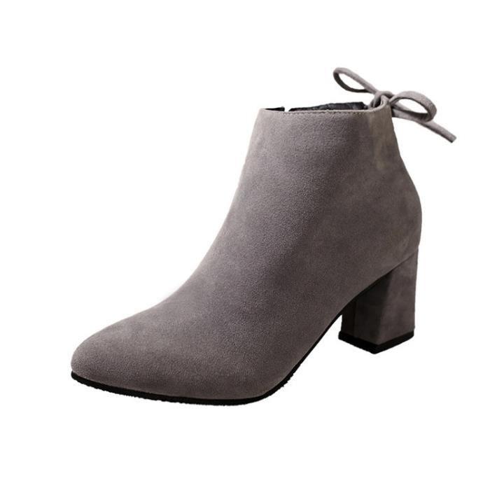 Cuir véritable Martin Bottes automne et en hiver Mode épais talon haut talon, bottes femme bottes cheville,noir,36