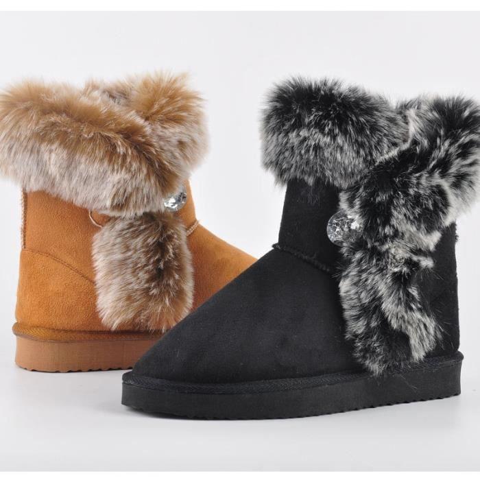 Hiver femmes en cuir véritable cheville Bottes chaud Thickend moutons fourrure en peluche neige Bottes femmes Chaussures Taille