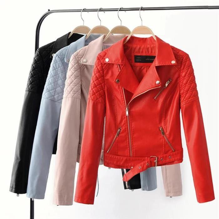 Femme noir rouge Pu nbsp; Bleu Blouson Court Individualité Revers Zip Tn8TSHa