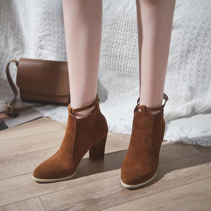 Boucle Talons Flcok Toe Ponited De Bracelet Hauts Chaussures Bottes Martin friendprice848 Les Cheville Femmes gfnq8nxv