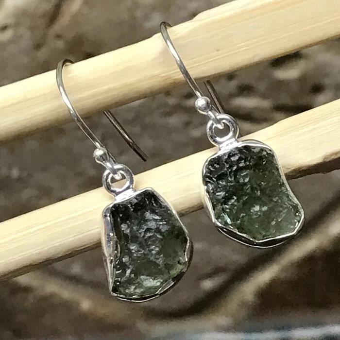 Green Republic naturelle des femmes tchèques moldavite 925 Boucles doreilles en pierre de guérison en argent massif 25m D6KVJ