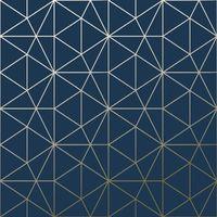 Metro Triangle Papier peint Triangle géométrique - Bleu marine et or - WOW008
