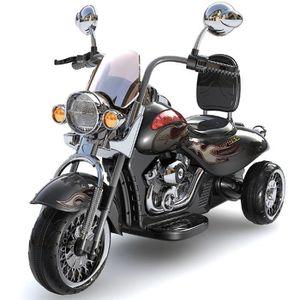 MOTO - SCOOTER Moto électrique enfant style Harley noir avec coff