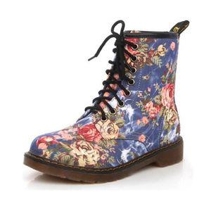 Napoulen®Femmes Soft Flat cheville floral imprimer Martin bottes lacet-up populaire Jaune-LMH71205551YE zmNnj