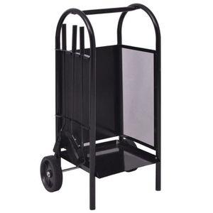PANIER PORTE BUCHES Chariot à bois en fer 35 x 30 x 81 cm Noir