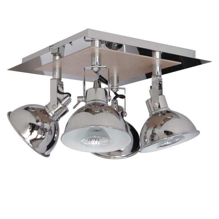 Plafonnier spot à 4 lumières Country GU10 35W ampoules fournies largeur 26 cm chrome et imitation ch