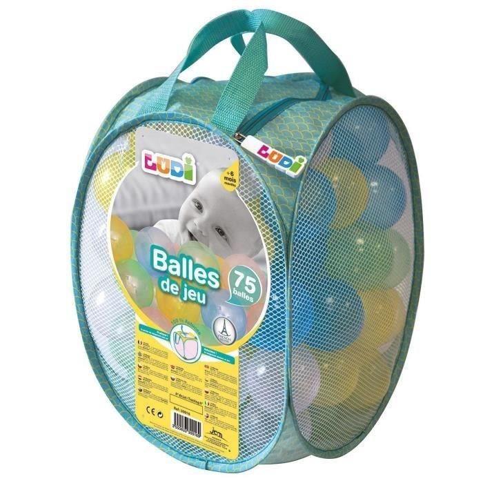 LUDI 75 balles de jeu avec sac de transport Transparent