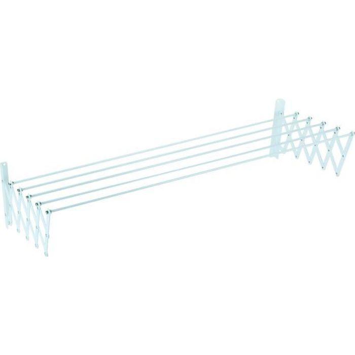 SAUVIC Séchoir à linge extensible plastifié 120 cm - Blanc