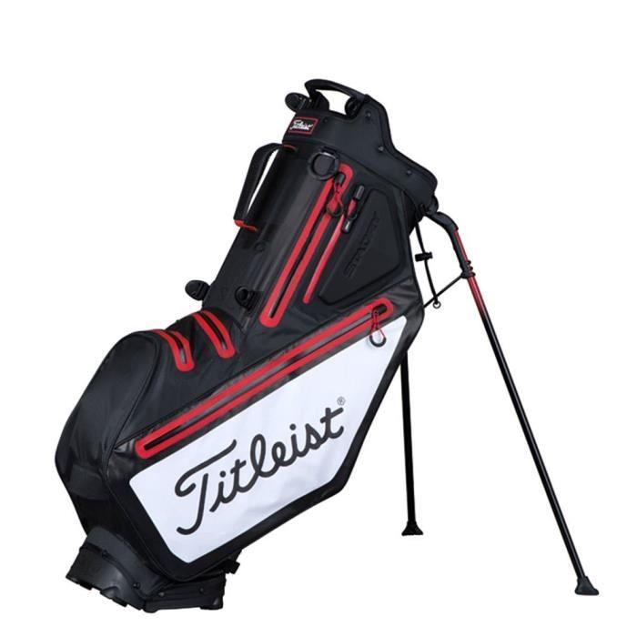 TITLEIST Sac de Golf avec Trépied Players 5 StaDry - Noir, Blanc et Rouge