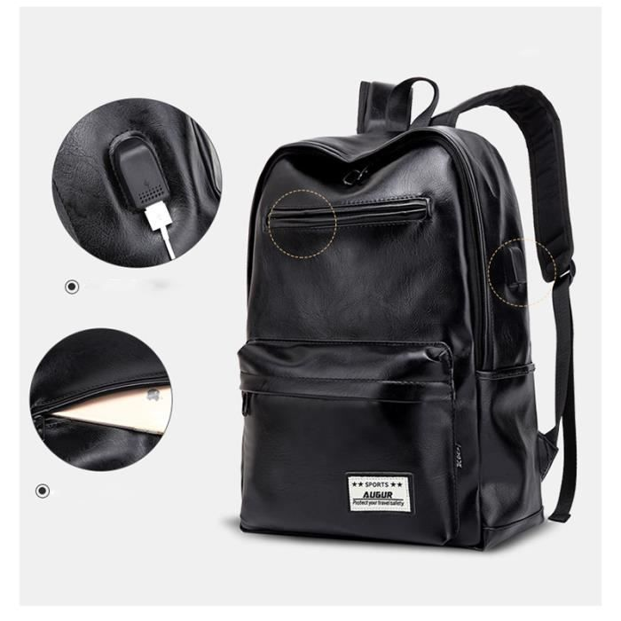 PU cuir Sac à dos Cartable pour collège Backpack Sac à Dos pour ordinateur  portable, USB Charging Port (Noir) 33   15   42cm ff8565dc1549