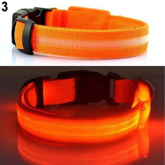 Chiot Chien Chat De Sécurité Nuit Clignotant Lumineux Led Lumière Collier Réglable Pour Animaux Compagnie Orange S