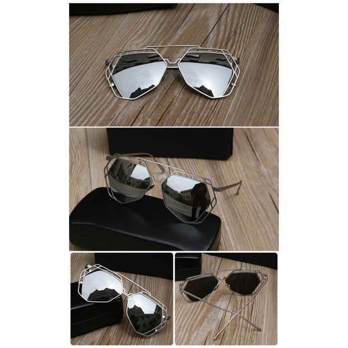 53d5ba1f5505b9 Grosses lunettes de soleil gris miroir femmes concepteur de marque amants  hexagonaux hippie UV400