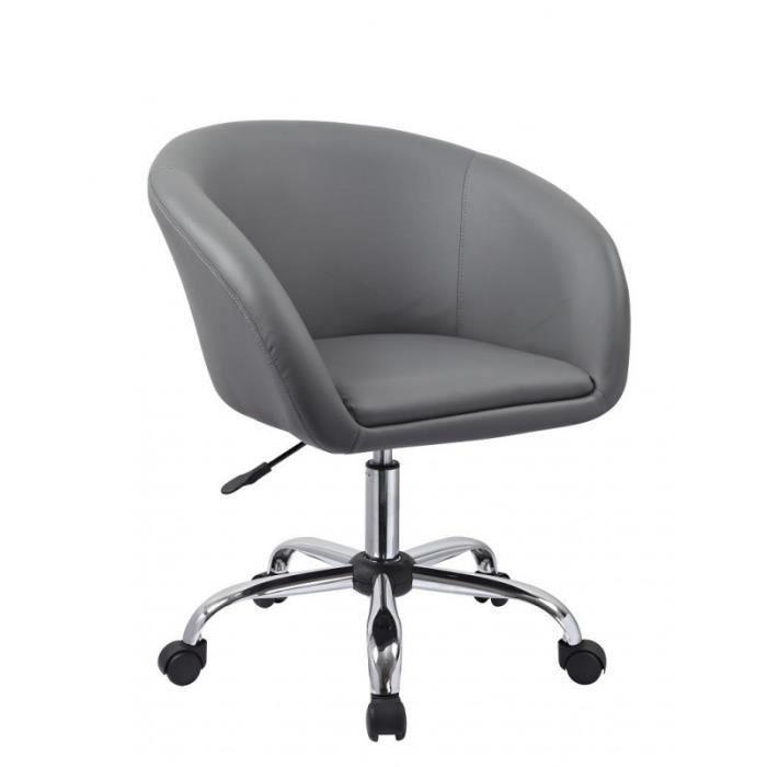 Fauteuil roulette tabouret chaise de bureau gris BUR09023