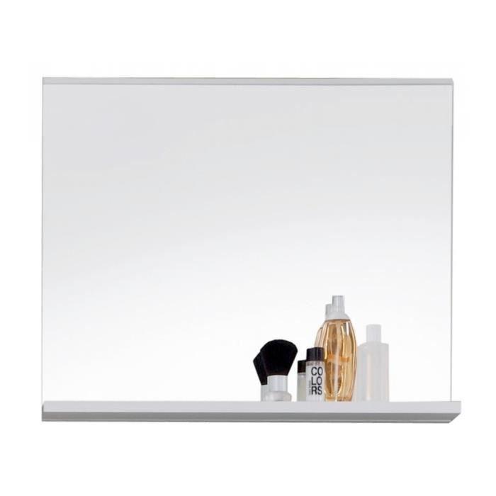 Miroir de salle de bain design avec tablette 60 cm coloris blanc ...