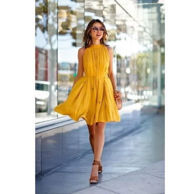 5672430868a9 Sans bretelles Jaune Robe Femme Sexy Européen Mode Sans Manches ...