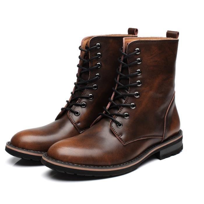 Hommes martin bottes mode automne et d'hiver cheville bottes en cuir HQ4zNr