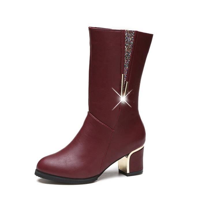 2017 automne et d'hiver nouvelles femmes & # 39; bottes de paillettes rondes en métal épais avec les bottes élégantes bottes Martin Q4t1t0k