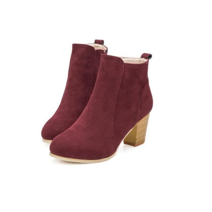 Bottine Femmes Automne Hiver Sexy Mode High-heeled Bottillons BCHT-XZ017Rouge39 SkF1lmiC