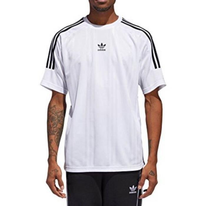 Adidas - Adidas Jacquard 3 Stripes Homme T-Shirt Blanc Blanc Blanc ... 88980b0b3ef