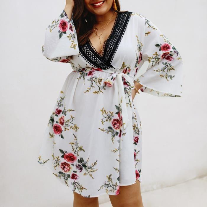 D'été Femmes Cloche Blanc À Floral Entourage Manches V Robe Cut Femme Low Plus Size qE1PxW7