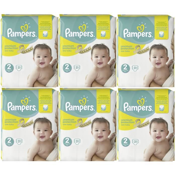 Pampers Premium Protection New Baby Taille 2 Mini 3 6kg 186 Couches