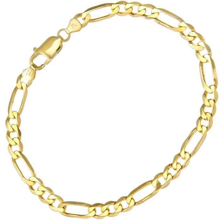 Revoni - Bracelet à chaîne Figaro en or jaune 9 carat 9,3 g, longueur 22 cm et largeur 5,8 mm.