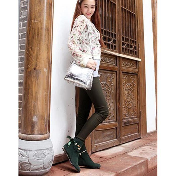 Minetom Femme Automne Hiver Elegant Classiques Bottes de Neige Chelsea Boots Courtes Laine Antidérapage Chaussures Plat Talon
