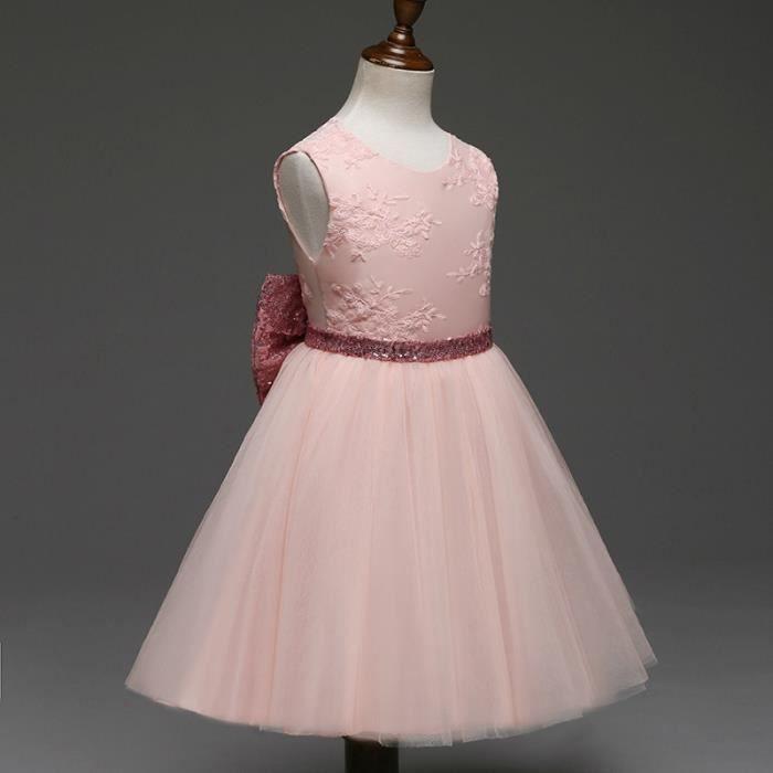 jupe bébé ceinture bowknot été fille de paillettes dentelle robe sans manches,rouge,110 cm