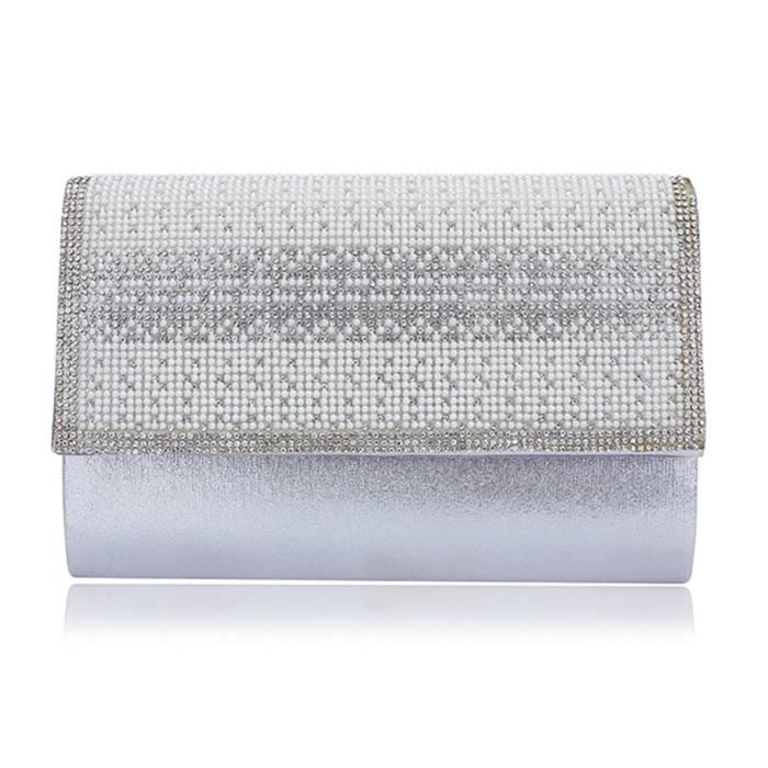 Womens élégant sac de soirée dembrayage, cristal de mariage porte-monnaie avec chaîne détachable L8ADZ