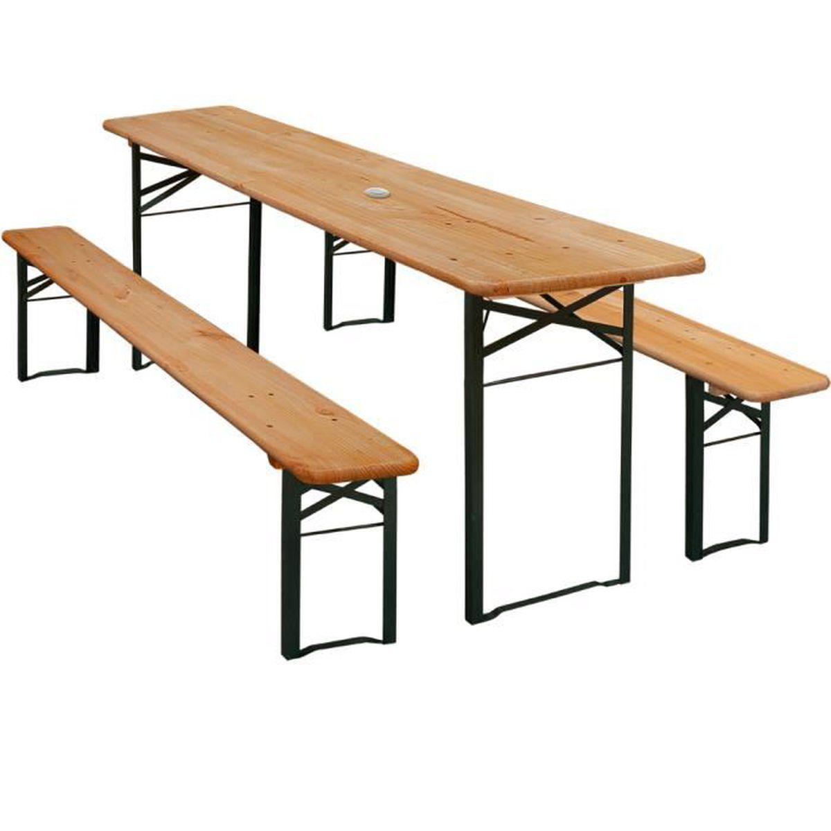 Table pliable et 2x bancs avec dossier - Salon de jardin meuble ...