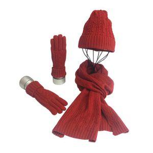 ECHARPE - FOULARD 3 pièces Mode Bonnet de laine avec foulard et gant e5dc695072a