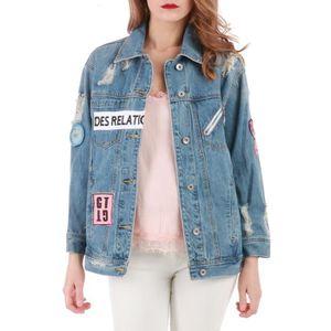 VESTE Veste en jean oversize effet destroy à écussons-S 1299e1982cf8
