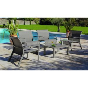 Linea Set Lounge 4 Fauteuils + Accoudoirs +1 Table Alu/Textilène ...