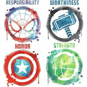 STICKERS Stickers Avengers repositionnables 4 Logo des Supe
