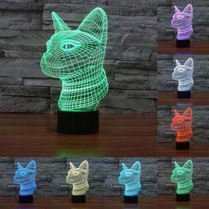 LAMPE A POSER Lampe LED 3D Côté Visage Chat Style 7 Couleur Déco