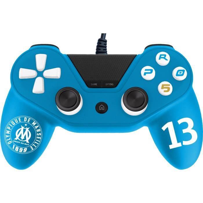 Manette filaire Pro 5 Subsonic sous Licence officielle OM Olympique de Marseille pour PS4