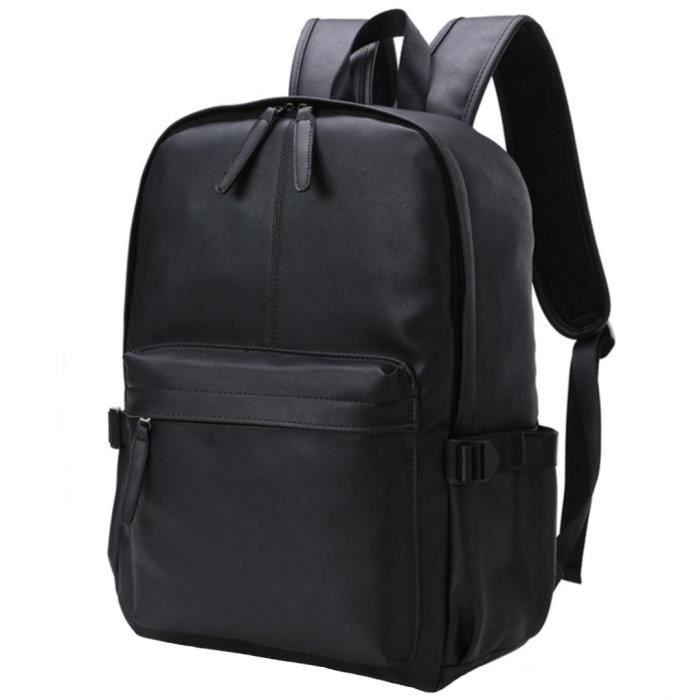 Pu cuir ordinateur portable Sac à dos étudiant Sac Daypack Casual QUTE6