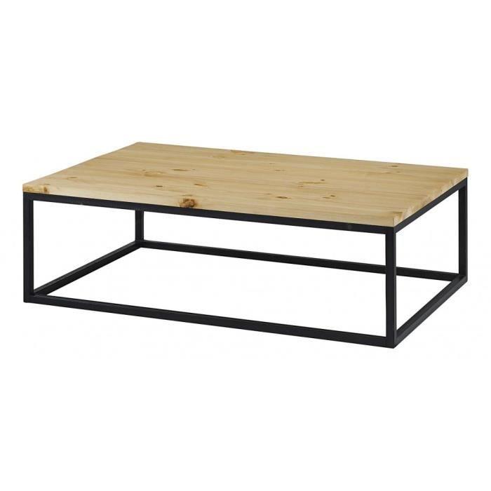 Table Basse Rectangulaire Bois Et Métal Achat Vente Table Basse