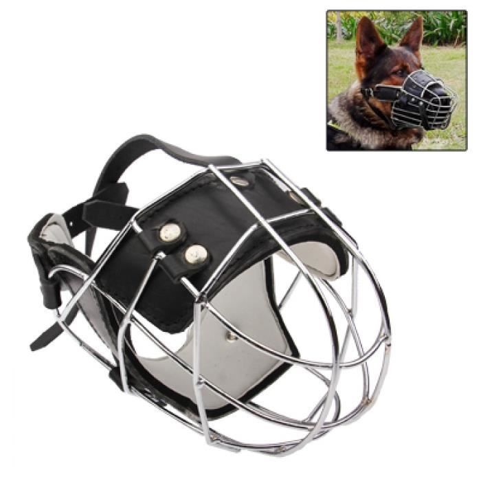 (#92) Steel Cage Style Dog Basket Wire Muzzle Protective Snout Cover With Leather Strap, Size: M(black)
