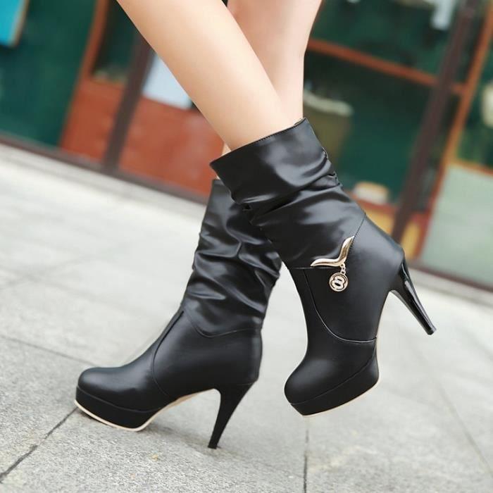 martin boots-Pure Color talon haut talon mince d coration en m tal Bottes femme